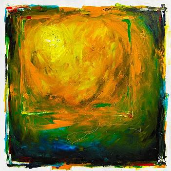 White Sphere Orange Circles by Michael Leporati