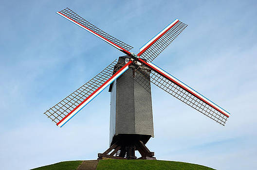 Windmill in Bruges Belgium by Kiril Stanchev