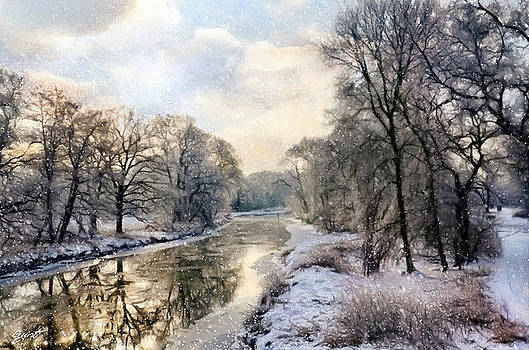 Winter landscape with river by Gynt