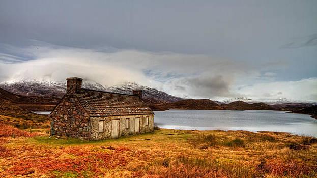 Winter scene at Loch Stack Scotland by Gabor Pozsgai