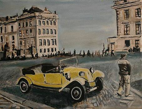 Yellow Car in Prague by Victor SOTO