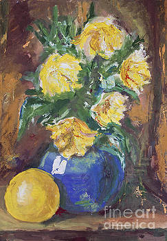 Yellow Flowers Bouquet painting by Kiril Stanchev