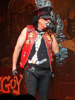 Red leather vest worn by Alice Cooper  by Danielle Vergne