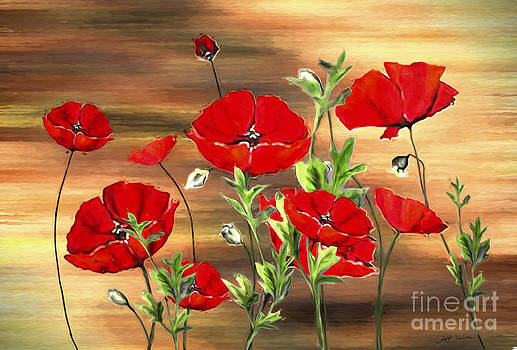 Abstract Poppies Painting on Wood by Heinz G Mielke