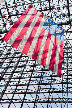 American flag hanging in the atrium of the John F Kennedy Library in Boston Massachusetts II by Thomas Marchessault