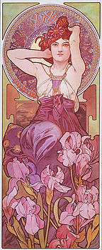 Amethyst Art Nouveau Lady Vintage by Masterpieces Of Art Gallery