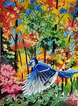 Autumn Blue Jay by John W Walker