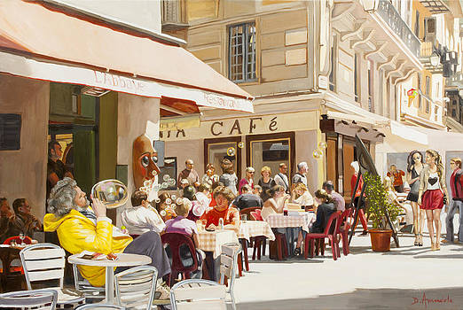 Blowing Bubbles At The Cafe Terrace  by Dominique Amendola