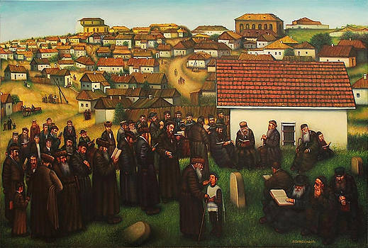 Breslav Hassids on the grave of Rabbi Nachman.  by Eduard Gurevich