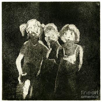 Children In The Shade - Kids - Boys - Girls - Darkness - Etching - fine art print - stock image by Urft Valley Art