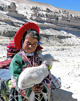 Colca Canyon Girl Helping Family At Roadside Market by Diane Geddes