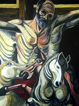 Crucified Saint with Holy Horses by Vedran V Pasalic