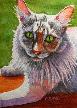 Diluted Calico Cat in Windowsill by Rachel Armington