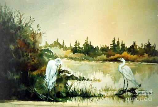 Egrets at Dead Lake by Lynne Parker