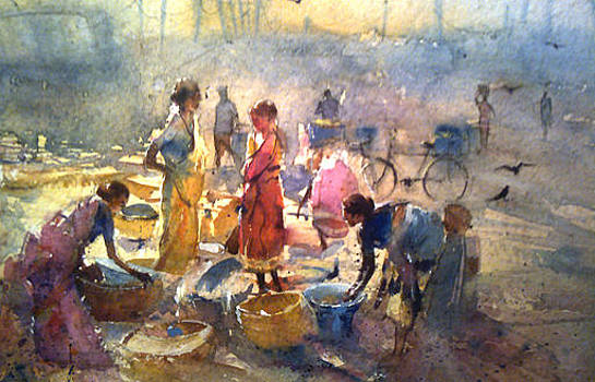 Fish Market by Mohan Watercolours