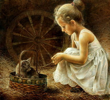 Girl with kitten by Arthur Braginsky