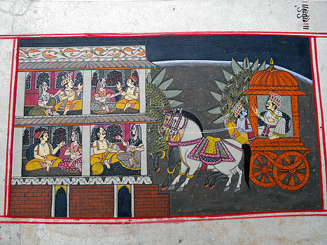 Indian miniature painting on heavy paper representing the emperor in a horse-driven cart by Anonymous Indian artist