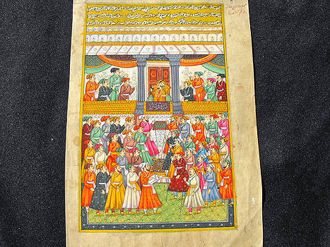 Indian miniature painting on manuscript paper featuring Shah Jahan in the imperial court by Anonymous Indian artist