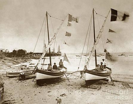 California Views Archives Mr Pat Hathaway Archives -  Italian Feluccas fishing boat Monterey Beach California1896