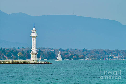 Les Paquis Lighthouse on Lake Leman in Geneva by Kimberly Blom-Roemer