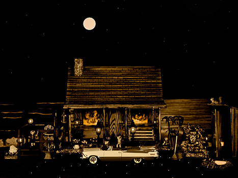 Miniature Log Cabin Scene With The Classic Old Vintage 1959 Dodge Royal Convertible In Sepia Color by Leslie Crotty
