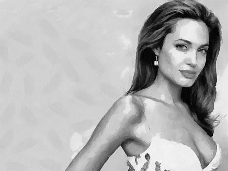 Movie star Angelina Jolie black and white by Georgi Dimitrov