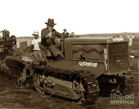 California Views Mr Pat Hathaway Archives -  Mr. Luther Burbank  driving Holt Caterpillar tractor 1924