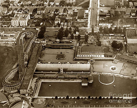 California Views Mr Pat Hathaway Archives -  Neptune Beach Olympic size swimming pool and a roller coaster Alameda circa 1920
