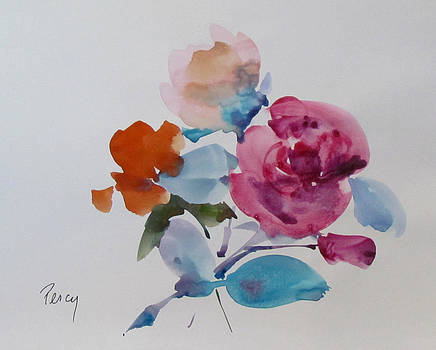 Orange Pink and Red Roses by Pat Percy