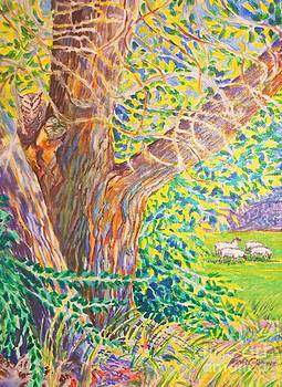Painting of Owl in Tree II by Annie Gibbons