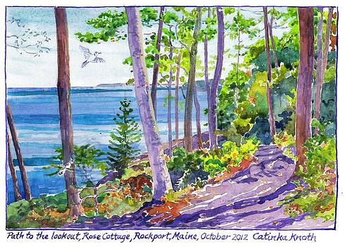 Path through fall woods to lookout above rocky coast of Rockport Maine by Catinka Knoth
