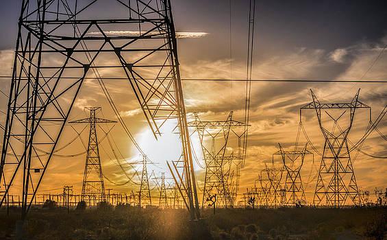 Powerline sunset by Ursula Klepper