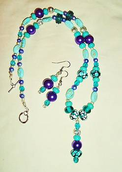 Purple Pearls Polkadots and Turquoise 2pc Set by Sharon Leigh