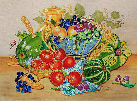 Red apples and  grapes oil painting by Johanna Bruwer