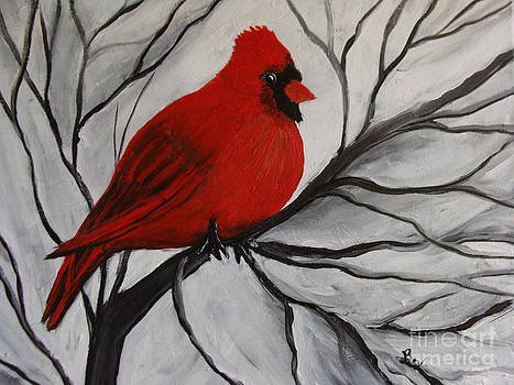 Red Cardinal In Tree by Beverly Livingstone