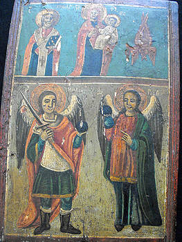 Romanian icon with folk painting decorations by Anonymous