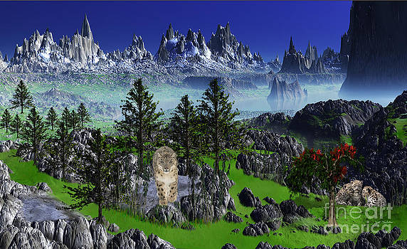 Snow Leopard and Cubs  Snow Leopard Mountain Digital Painting by Heinz G Mielke