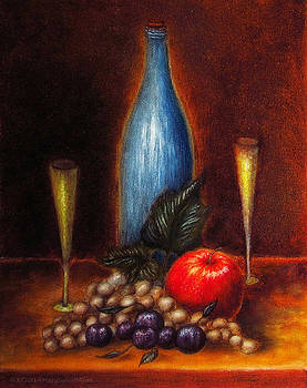 Still Life Study--Wine_Apple_Grapes by Mary Sylvia Hines