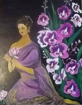 Thai lady and orchids by Iris Devadason