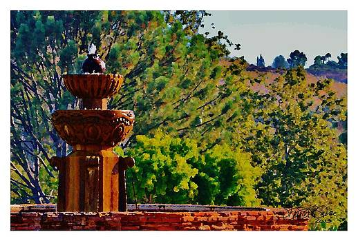 The Fountain at The Mission by Sharon  Lavoie