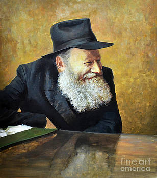 The Lubavitcher Rebbe smiling by Eugene Maksim
