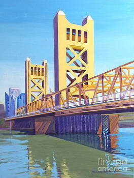 The Tower Bridge Towers Over the Sacramento River by Virginia White