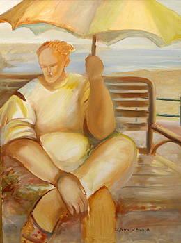 Woman with Umbrella by Bettye  Harwell