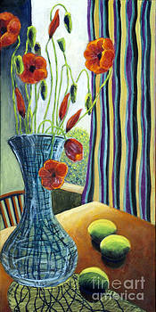 01295 Poppies and Limes by AnneKarin Glass