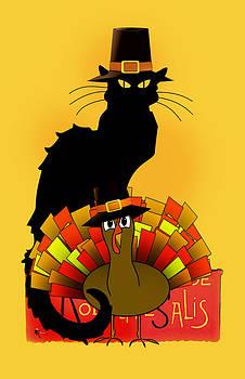 Gravityx9   Designs -  Thanksgiving Le Chat Noir With Turkey Pilgrim