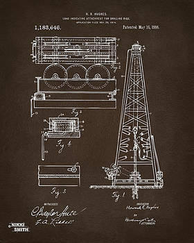 Nikki Marie Smith - 1916 Oil Drilling Rig Patent Artwork - Blueprint