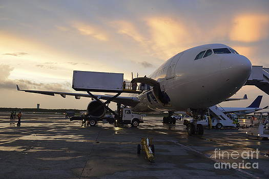 Airplane on tarmac at sunset by Sami Sarkis