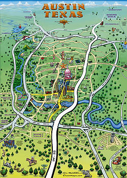 Kevin Middleton - Austin Texas Cartoon Map