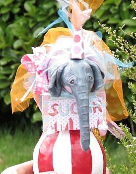 Baby Circus elephant cake topper or table decoration. Keepsake. I can create any figure for you. Up  by Sandra Oropeza