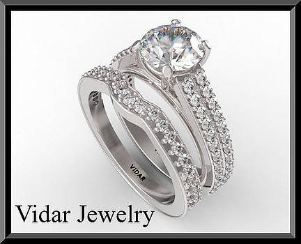 Beautiful Moissanite And Diamond 14k White Gold Wedding Ring Set by Roi Avidar